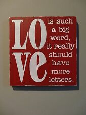 Love Such a Big Word Valentine's Day Wedding Wooden Sign Decoration Spouse Gift