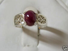 2ct natural red ruby filigree 925 sterling silver ring size 7 USA made