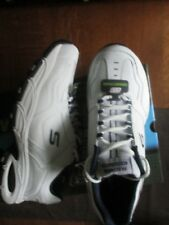 NWT Skechers Mens Tennis Shoes White Blue Memory Foam Size 10
