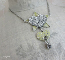 Vintage Danish PILGRIM Necklace Silver/Cream/Clear Swarovski HEART Star KEY BNWT