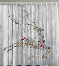 "REINDEER LEAPING MULTICOLOR DESIGN CHRISTMAS 70"" Fabric Bathroom Shower Curtain"