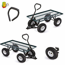 Heavy Duty Garden Utility Cart Wagon Lawn Wheelbarrow Steel Trailer Yard NEW