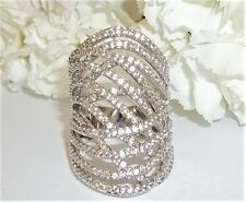 Stunning Womens Seta Size 8 CZ Fashion Silver Color Cocktail Highway Ring