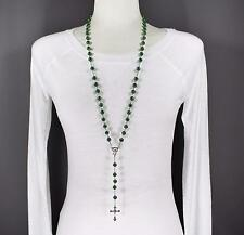 "Green glass bead beaded rosary silver cross 30"" long necklace faux pearl"