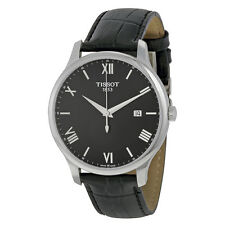 Tissot Traditon Gents Black Dial Black Leather Mens Quartz Watch T0636101605800