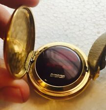 RARE Armitron LED 1970's Steampunk Pocket Watch In Gold Tone Case W/ Red Face