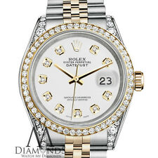 Rolex Stainless Steel and Gold 36 mm Datejust Watch White Diamond Dial