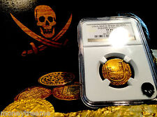 "SPAIN 1 ESCUDO 1516 - 1556 ""SQUARE D TO LEFT"" GOLD COB DOUBLOON NGC 35 COIN!"