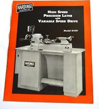 HARDINGE DV59 HIGH SPEED PRECISION LATHE WITH VARIABLE SPEED DRIVE BROCHURE