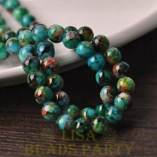 Hot 30pcs 8mm Round Glass With Color Coated Loose Spacer Beads Green&Blue