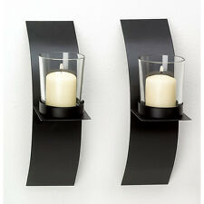 NEW Modern Art Candle Holder Wall Sconce Plaque Set Of Two