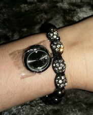 Stunning ladies sparkly shamballa bracelet style black watch. Bnib NEW