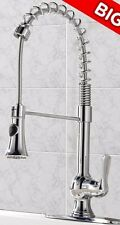 Vccucine Chrome Spring Single Handle Pull Out Sprayer Kitchen Sink Faucet