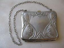 Antique Art Nouveau Silver T Floral Card Case Coin Purse Compact  #10