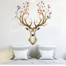 Sika Deer Flower Bird Tree Removable Wall Sticker Mural Decal Home Art Decor