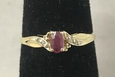 Natural Ruby & Diamond Accent 10K Yellow Gold Ring Size 6.75