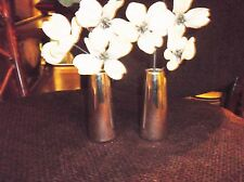 PAIR OF SILVER LUSTRE SMALL POTTERY BUD VASES WITH FOAM FOR ARTIFICIAL BUDS 3.75