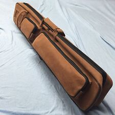J&J Brown Angora Soft Sided Pool Cue Case 4 Butt 8 Shaft Butterfly Style 4x8