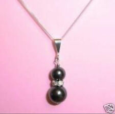 """new Black sea shell Pearl Pendant Necklace 17""""AAA"""
