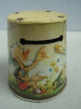 Antique  piggy bank moneybox money box a safety deposit box tin made in Germany