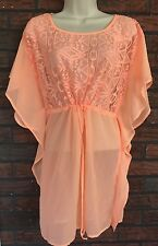 Xhilaration Beach Tunic Small Bright Neon Orange Semi Sheer Kimono Sleeves Dress