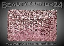 Neu: Elegante CLUTCH Abendtasche, in ROSÉ GLITZER PAILLETTEN, Ausgeh-Tasche CHIC