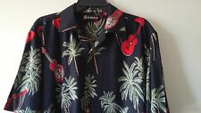 Men's WINGO L Rayon Hawaiian Short Sleeve Palm Tree & Aloha Guitar Multicolor