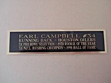 Earl Campbell Oilers Nameplate For A Football Mini Helmet Display Case 1.5 X 6