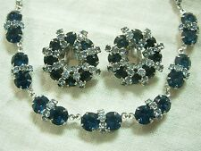 VINTAGE WEISS SAPPHIRE & ICE BLUE RHINESTONE CHOKER NECKLACE & EARRING SET