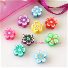 20Pcs Mixed Handmade Polymer Fimo Clay Star Flower Flat Spacer Beads Charms 10mm
