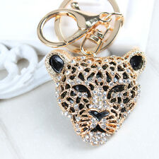 Leopard Lion Head Charm Pendant Purse Bag Rhinestone Crystal Key Ring Chain Gift