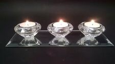 TRIPLE TEA LIGHT CANDLE HOLDER CRYSTAL ORNAMENT MIRROR GLASS HOME GIFT NEW SET