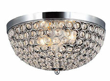Flush Mount Light Ceiling Lighting Fixture Modern Chrome Crystal Shade Lamp New