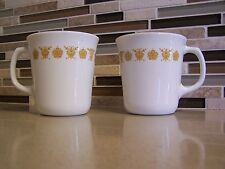 Corelle  Retired ~ 2 Vintage Butterfly Gold Mugs by Corning