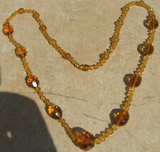 """Vintage Amber Colored Glass Necklace 29"""" Long"""