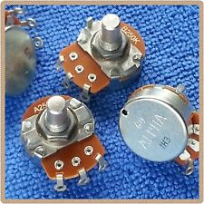 A 250K Audio/Log B 250K Linear 24mm solid shaft Metric pots for single coils