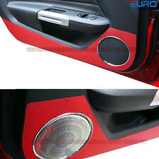 Red Carbon Fiber Door Shield Cover Sticker Kick Protector for 15+ Ford Mustang