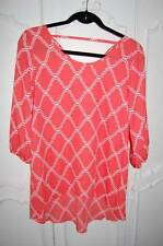 New SIGNATURE STUDIO Coral Peach Spring Summer Long Blouse Top Womans Small NWOT