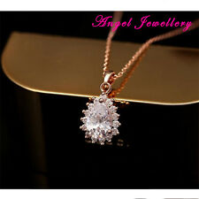 14k Gold Plated Jewellery Necklace Made With Clear  Pear Cut Zircon Crystal