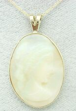 14K GOLD OVAL GENUINE NATURAL OPAL CAMEO PENDANT (#2332)