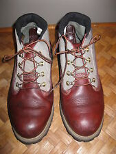 MEN'S TIMBERLAND HIKING BOOTS CANVAS AND OX BLOOD LEATHER SIZE 10 1/2M