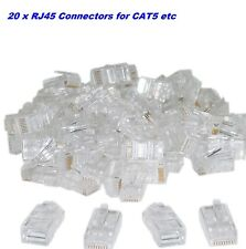 Conector RJ45 CAT5e Enchufe de extremo del cable de red LAN x 20 servidores de Internet CAT5