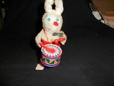 """Vintage Wind Up Bunny Playing a Drum Made in Hong Kong Works Great 7"""""""