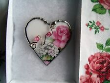 Vintage Recycled Broken China~Sweet and Shabby~ Roses~Heart~Brooch/Pin~