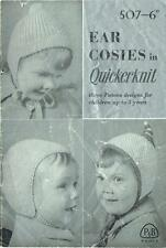 VERY SWEET VINTAGE KNITTING PATTERN BOOKLET ~ EAR COSIES (HATS) P&B Up to 5 year