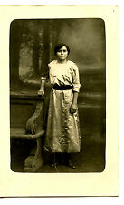 Young Lady in Satin Dress-Carved Bench-Studio RPPC-Vintage Real Photo Postcard