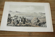 "1850s ""BIVOUAC, JAN 28""  RAILROAD SURVEY LITHO TINTED U.S.P.R.R 35TH PARALLEL"