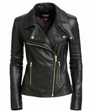 Black Women's Slim Fit Biker Style Real Leather Jacket