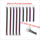 Clever 10mm 4 Pin two Connector Cable SMD LED 5050 RGB Strip Light 1/5/10pcs