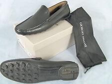 NEW $775 Giorgio Armani Mens Shoes!  e 46 Approx US 13   Black Leather Slipons